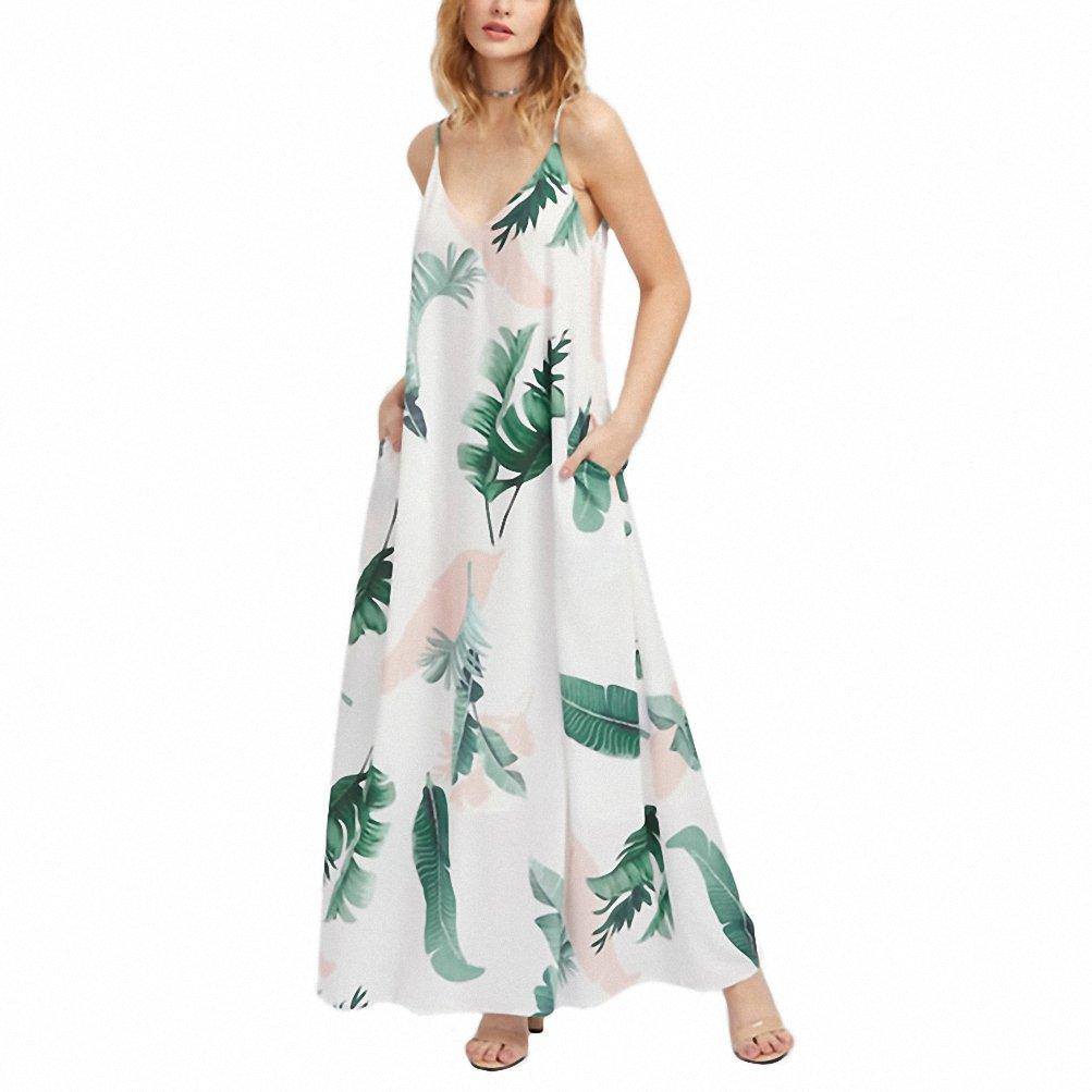 e7b96d9d2661 Jungle Leaf Print Hidden Pocket Side Cami Dress Summer Maxi Dress Spaghetti  Strap V Neck A Line Slip Dress - White -  Amazon.co.uk  Clothing