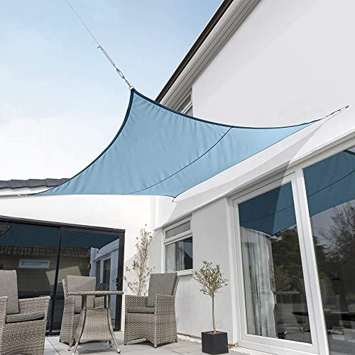 Kookaburra Waterproof Azure Sun Shade Sail Garden Patio Gazebo Awning Canopy 98 UV Block with Free Rope 17ft 9 Square