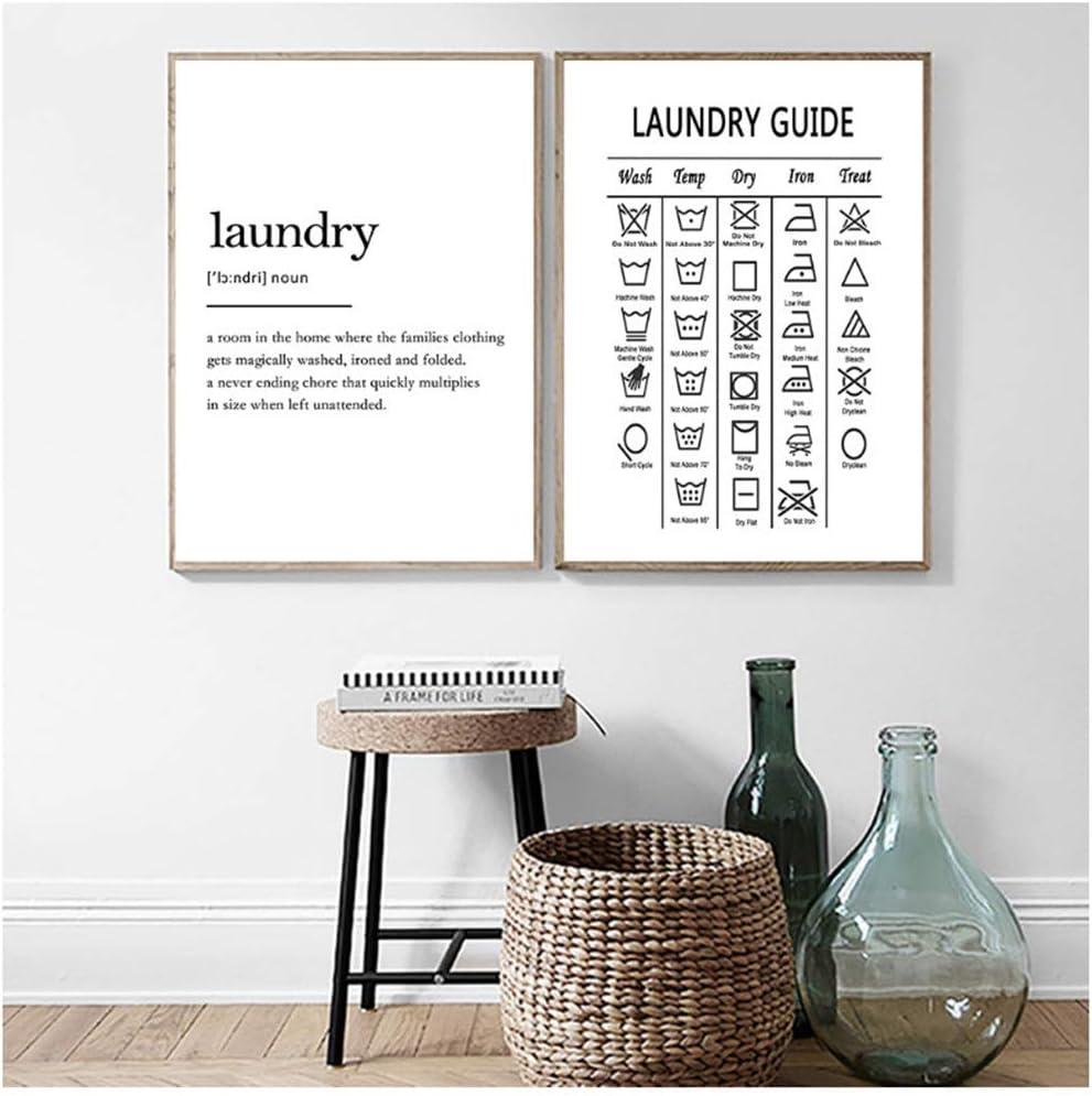 Gu/ía de s/ímbolos de lavander/ía Pintura de lienzo Cuadro de pared Decoraci/ón de arte de lavander/ía Gu/ía de clasificaci/ón de lavander/ía Impresi/ón y p/óster de lienzo 50X70cm2pcs-Sin marc