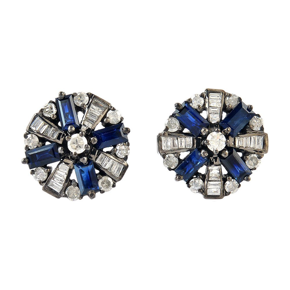 0.8Ct Diamond 925 Sterling Silver Blue Sapphire Baguette Cufflinks Gift Jewelry