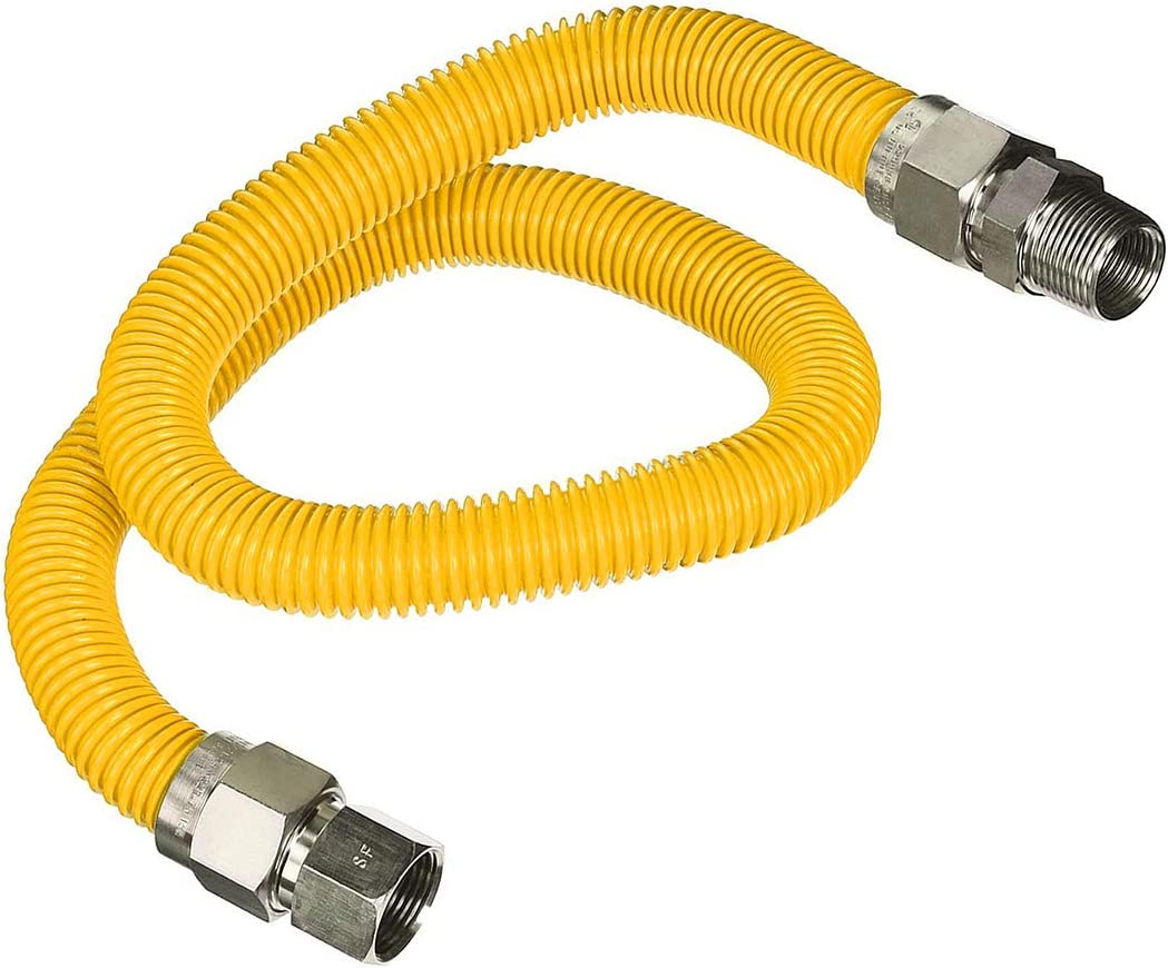 Highcraft Guhdzd3436q 36 Flexible Yellow Epoxy Coated Gas Line Connector With 1 O D And 3 4 Fip X 3 4 Mip Fittings Stainless Steel Amazon Com