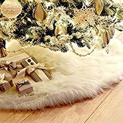 "UHeng 30"" Christmas Tree Plush Skirt Ornaments Snowman Santa Reindeer Decoration"