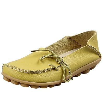 Vogstyle Mujer Casual Mocasines de Cuero Mocasines Zapatos Planos Estilo 1-Manzana Verde EU44/CH44: Amazon.es: Zapatos y complementos