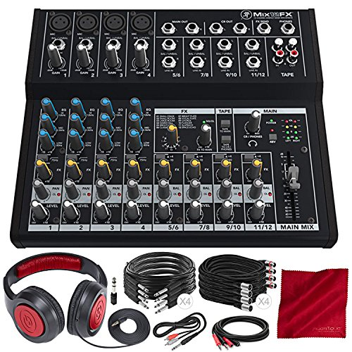 Mackie Mix Series Mix12FX 12-Channel Compact Mixer and Deluxe Bundle with Closed-Back Headphones + XLR Cable + 1/4