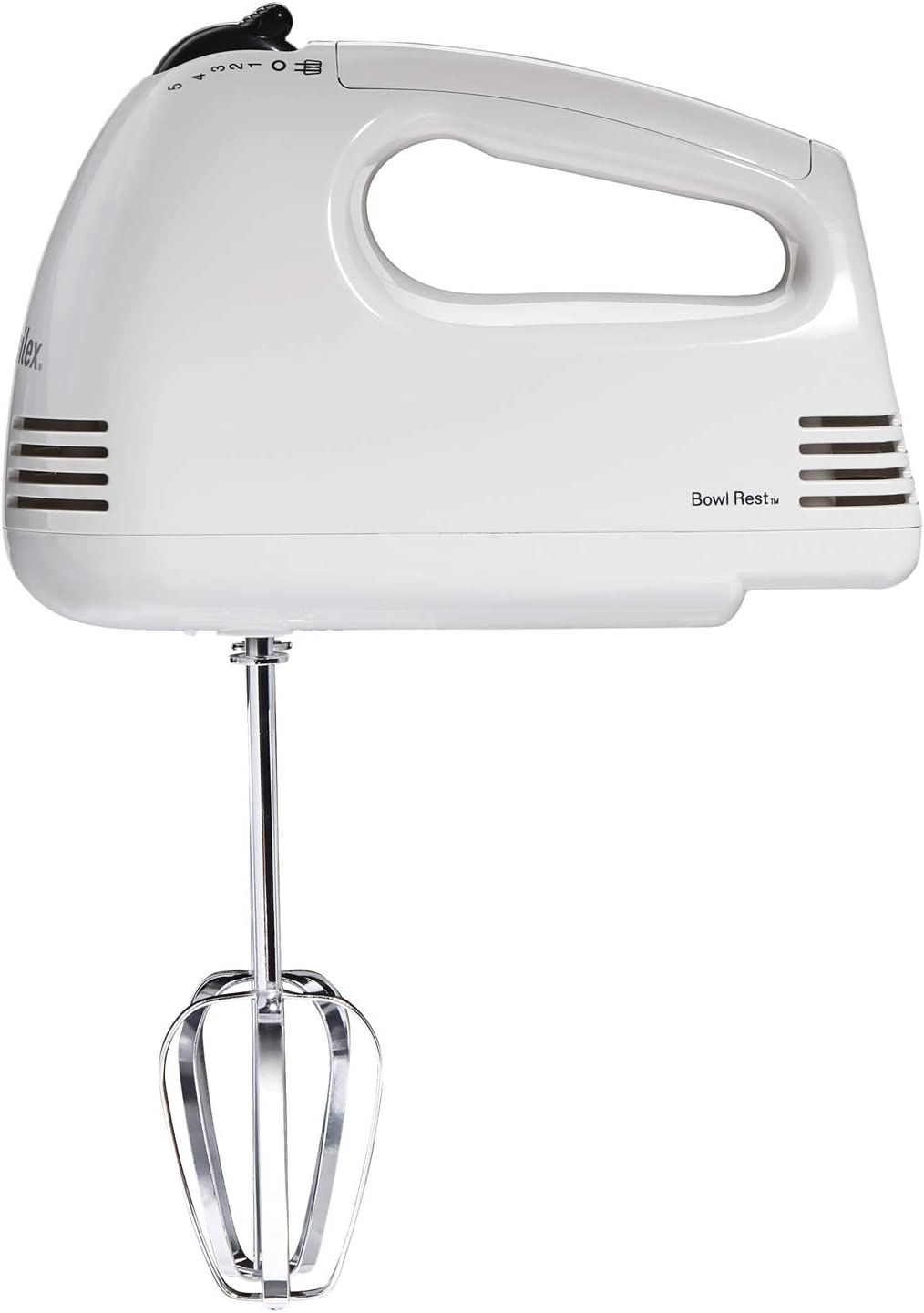 Proctor Silex 5-Speed Easy Mix Electric Hand Mixer with Bowl Rest, White (62515PS)