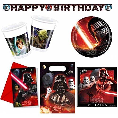Star Wars - Set de fête, 49-teilig ; gobelet, assiette, serviettes, Sacs de fête,invitations,guirlande