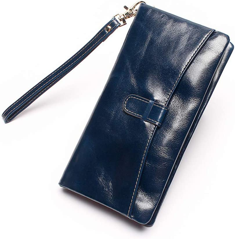 Genuine Leather Womens Wallet Oil Wax Leather Clutch Bag Women Long Wallets Ladies Coin Purse Wallet Female Carteira,Royalblue