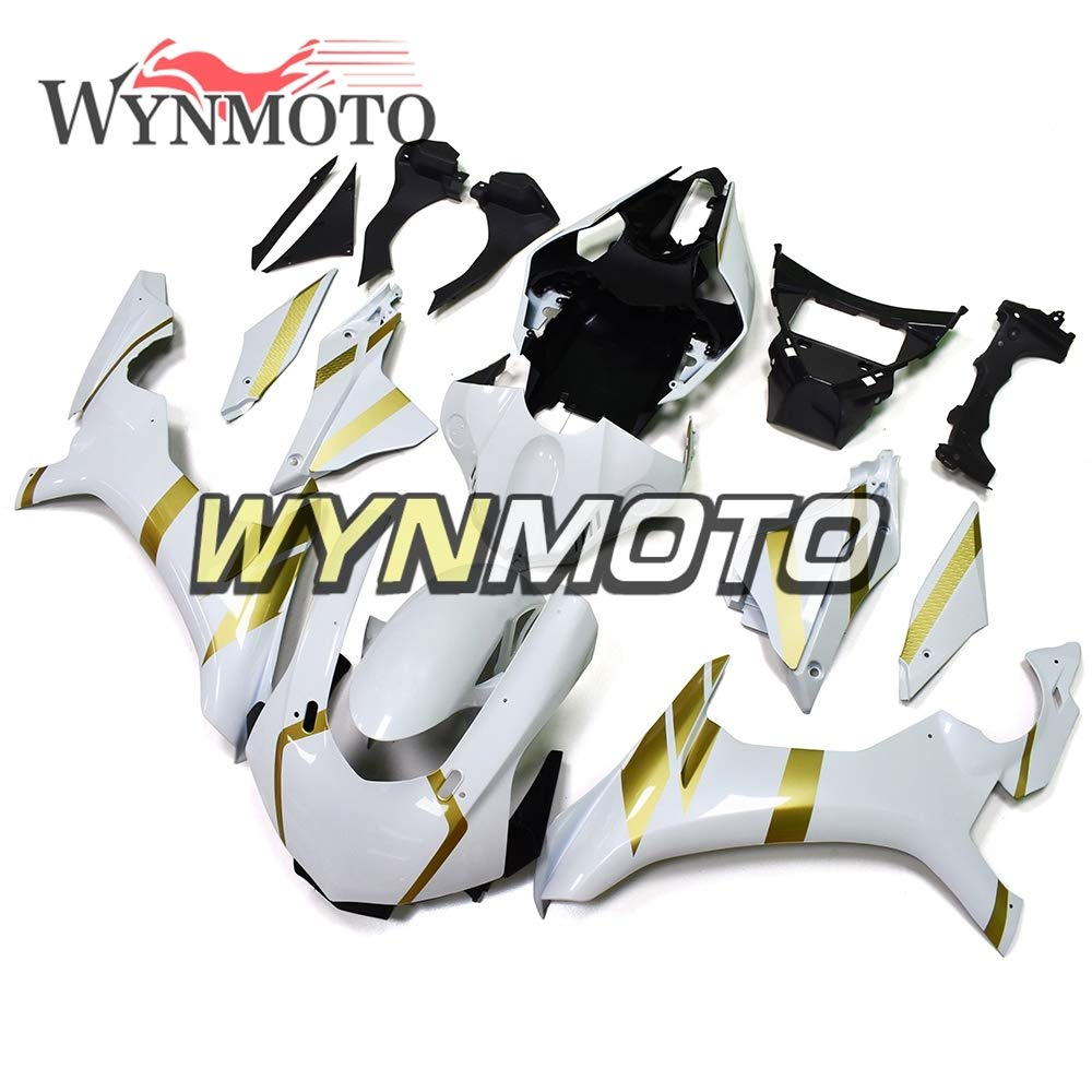 WYNMOTO 新しいオートバイの完全な ABS 整形ヤマハ YZF1000 R1 年 2015 2016 15 16 Sportbike パールホワイトゴールドインジェクションボディカウリング   B07H7DB4KD