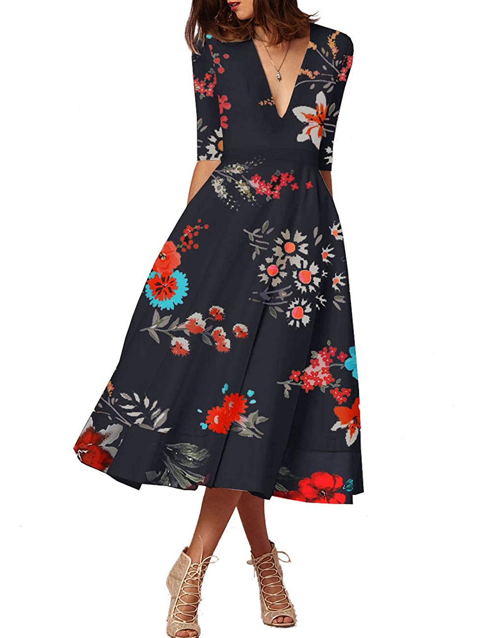 48e77551dff Amazon.com  FASHIONMIA Women s Floral Dress with Pocket 3 4 Sleeve V Neck  Summer Swing High Waist Party Midi Dresses  Clothing