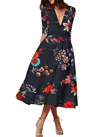 befa9aaec8 FASHIONMIA Women s Floral Dress with Pocket 3 4 Sleeve V Neck Summer Swing  High Waist