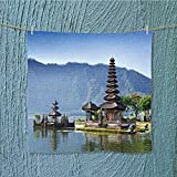 L-QN towel barpura ulun danu bratan or pura beratan temple bali island indonesia Multipurpose Quick Drying W13.8 x W13.8