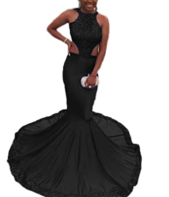 Z Sexy Halter Open Back Long Mermaid Prom Dresses Sequins Formal Evening Party Dresses