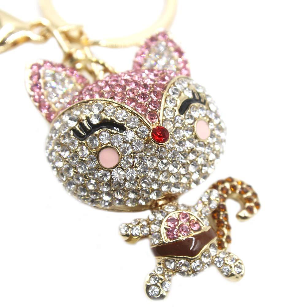 Cute Fox Rhinestone Keychain Bling Keyring Women Bag Purse Charm Pendant Gift by leomoste (Image #5)