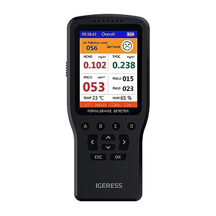 IGERESS Monitor de calidad del aire interior Detector Prueba precisa de formaldehído (HCHO) TVOC PM2.5 / PM1.0 / PM10 Prueba de contaminación de la calidad ...