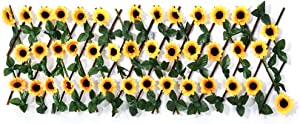 HONUTIGE Expandable Decorative Fence, Artificial Flower Leaves Trellis Privacy Screen Single Sided Faux Hedge Panels Stretchable Privacy Fence for Backyard Garden Balcony Home Wall Decor