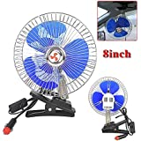 Reelva 812V Auto Car Vehicle Window Fan Ventilator Cooler Clip-On Oscillating Cooling