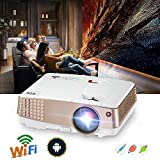 LCD Mini Projector Home Theater - Wireless Multimedia Video Projector WiFi 2600 Lumens LED Support 1080P HDMI USB VGA for Home Cinema TV Laptop Movie Game iPhone Andriod Smartphone Headphone