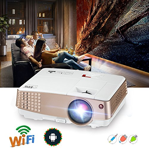 LCD Mini Projector Home Theater - Wireless Multimedia Video Projector WiFi 2600 Lumens LED Support 1080P HDMI USB VGA for Home Cinema TV Laptop Movie Game iPhone Andriod Smartphone Headphone by EUG