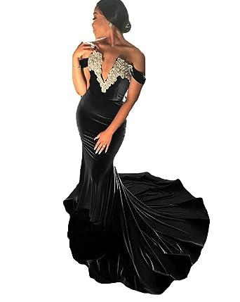 Dressesonline Off Shoulder Mermaid Prom Dresses Long Beads Velvet Evening Gowns 2