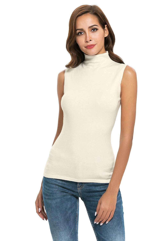 8d53c1e20e Nasperee Women Sleeveless High Mock Turtleneck Knit Pullover Sweater Shirt  Plain Slim Fit Tank Tops at Amazon Women s Clothing store