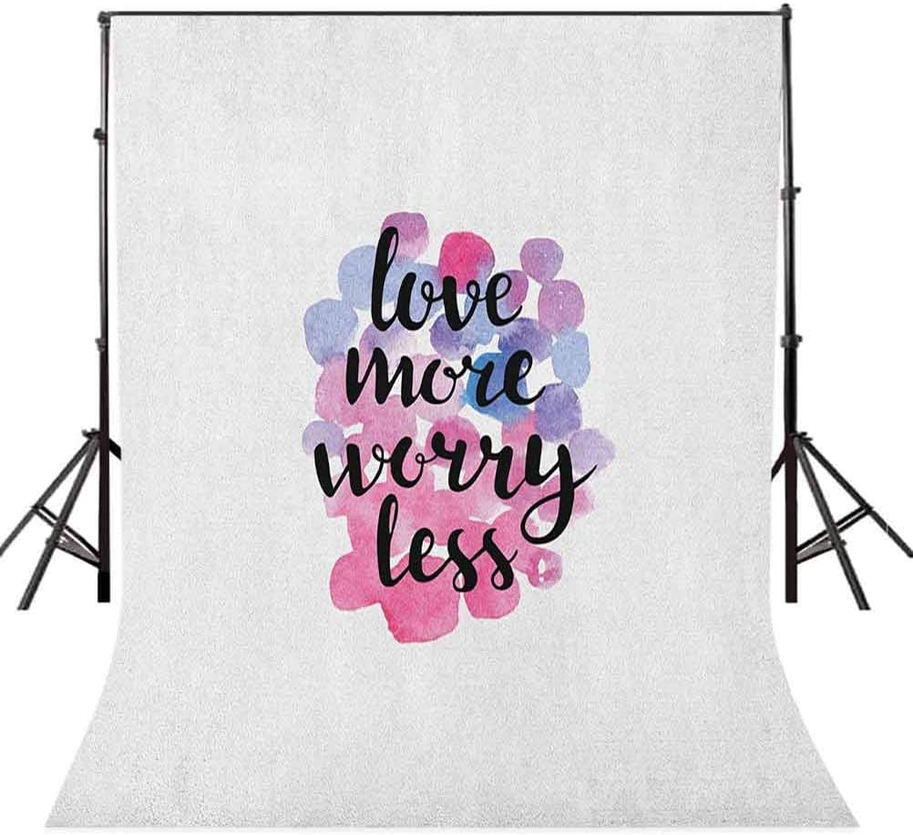 9x16 FT Love Vinyl Photography Backdrop,Hand Drawn Calligraphic Inspiration Quote on Watercolor Style Dots Background Background for Baby Birthday Party Wedding Studio Props Photography