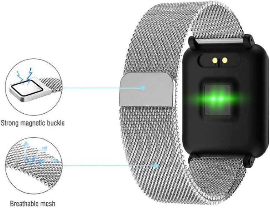 YJKLB Montre Intelligente Montre Intelligente Pistotomètre Fitness Tracker Smartwatch Hommes Étanche Smart Bracelet Bracelet add metal silver
