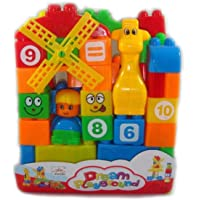 Bricks and Blocks Game for Kids Plastic Bag D-Ream Playground Toy Station-Set of 35 Pieces(Multicolored)