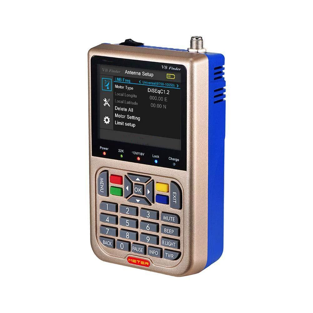 Eachbid Digital Satelite Finder Meter DVB-S2/S2X V8 Finder HD FTA 3.5 Inch LCD Display Finder Signal Meter US by Eachbid