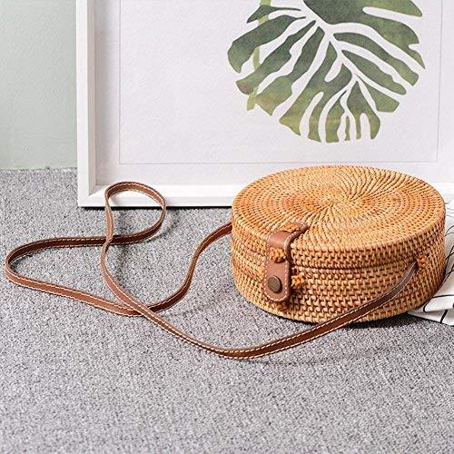 Diagonale Bag Paglia Tracolla Circolare Retro Tessuto Khaki Intrecciato Rotonda Beach In Manuale Honeybeely Intrecciata A Borsa Small Mano Ritaglio Rattan Khaki qvTvBA6