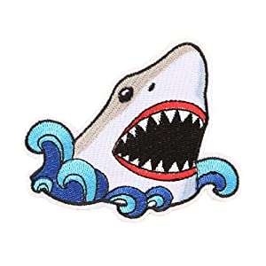 2 Pcs Cute Shark Patch Iron On Sew On Embroidered Patch, Applique Patch, Cool Patches for Men, Women, Boys, Girls, Kids