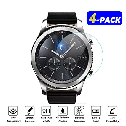 [4 PACK] Gear S3 Screen Protector, FIVEFISH Samsung Smart Watch 9H Tempered Glass Film Screen Protector for Samsung Smartwatch Gear S3 Frontier ...