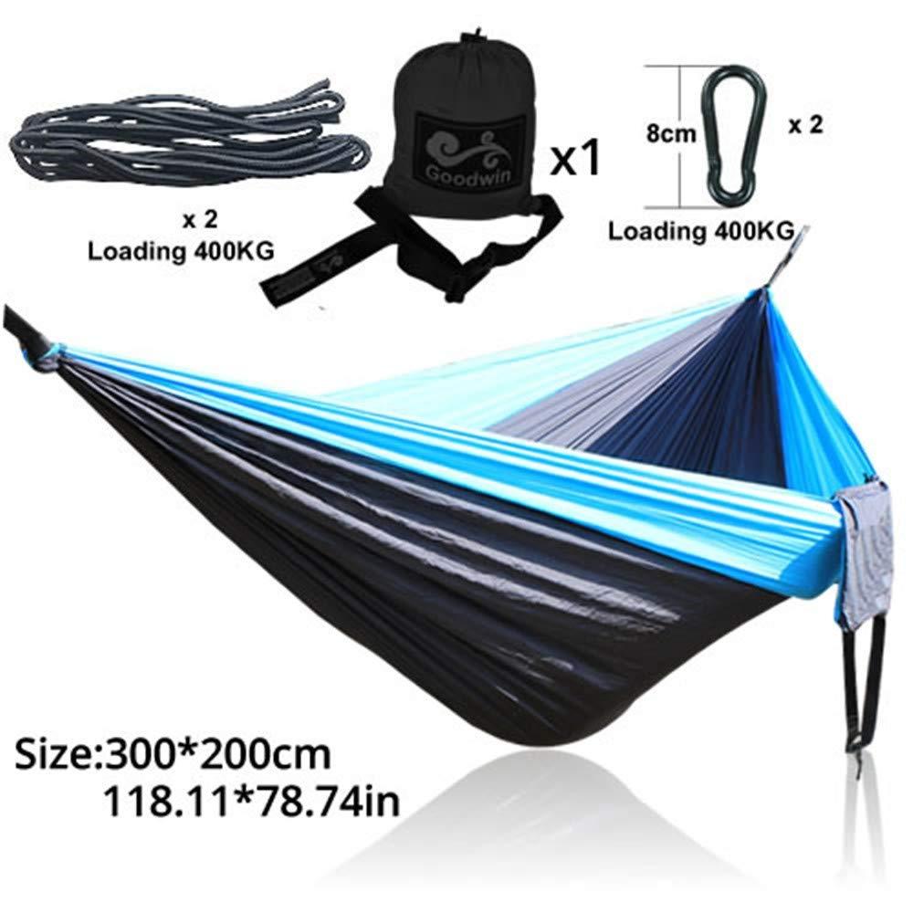 Camping Hammockblu nero blu 210T Campeggio Amaca in Nylon Hamac 300  200Cm 300Cm, 01