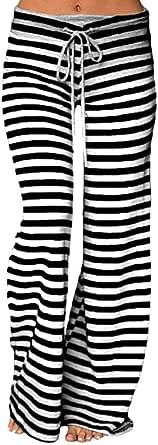 KINDOYO Women's Stripe Yoga Pants,Pilates Pants,Casual Loose Wide Leg Pants Drawstring Trousers (Black Strips,UK 2XL = Tag 3XL)