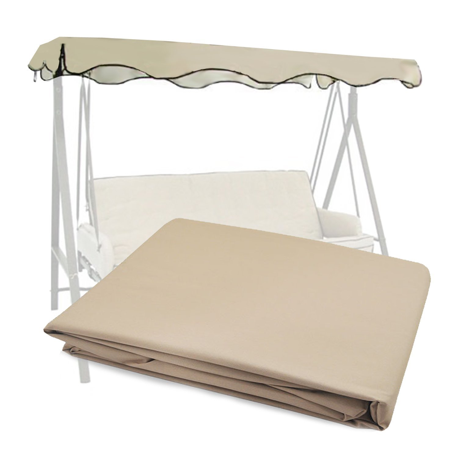 :  Garden Winds Replacement Canopy Top for Lowe's Garden Treasures Model SC-GSN and SC8844GSN Swing – Beige Color – Will Not Fit Any Other Models