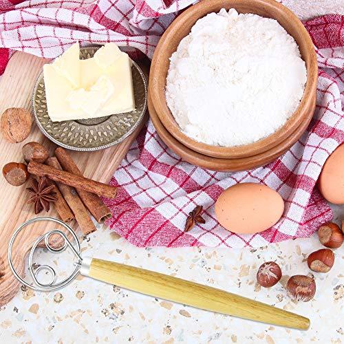 "REMASIKO Danish Dough Whisk Large – Stainless Steel Wooden Danish Whisk, 13.5"" Hook Hand Mixer Dutch Artisan Blender for Bread, Cookie, Dumpling or Pizza Dough - Perfect Baking"