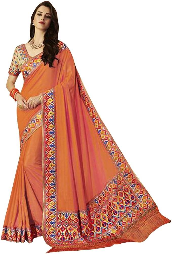 Diseñador de vestimenta tradicional india Sari de seda con blusa sin costuras 586: Amazon.es: Ropa y accesorios