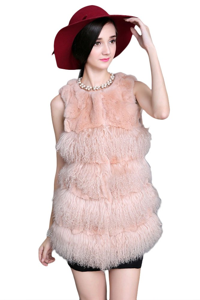 Queenshiny New style Women's 100% Real Rex Rabbit and Wool Fur Vest-Khaki-S(4-6)