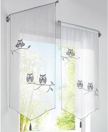 Hoomall 1pc Decoration De Fenetre Voilage Brise Bise Rideau Pompon