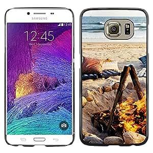 FECELL CITY // Duro Aluminio Pegatina PC Caso decorativo Funda Carcasa de Protección para Samsung Galaxy S6 SM-G920 // Summer Flame Fire Ocean Beach
