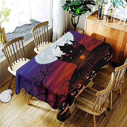 TT.HOME Elastic Tablecloth Rectangular,Halloween Gothic Haunted House Castle Hill Valley Night Sky October Festival Theme Print,Resistant/Spill-Proof/Waterproof Table Cover,W50x80L,Multicolor
