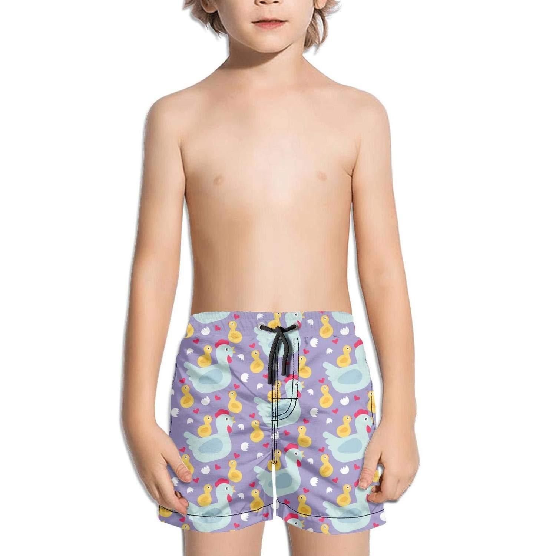 Lenard Hughes Boys Quick Dry Beach Shorts Pockets Purple Hen Love Chick Swim Trunks Summer
