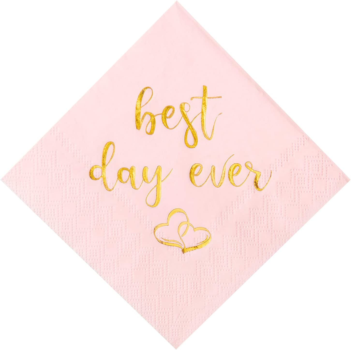 Crisky Wedding Cocktail Napkins Pink Gold Best Day Ever Napkins for Wedding Dessert Beverage Table Decorations Wedding Party Supplies 100 Pcs, 3-ply