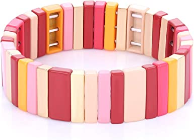 Tile Enamel Bracelet Set Tila Chevron Arrow Rectangle Elastic Stretchy Beaded Bracelet Colorblock Stackable Bracelet For Woman Gift