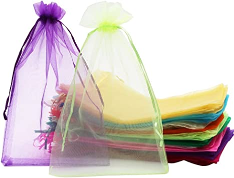 SumDirect 100Pcs 8x12 Inches Organza Gift Party Favor Bags with Drawstring (Assorted Colors)