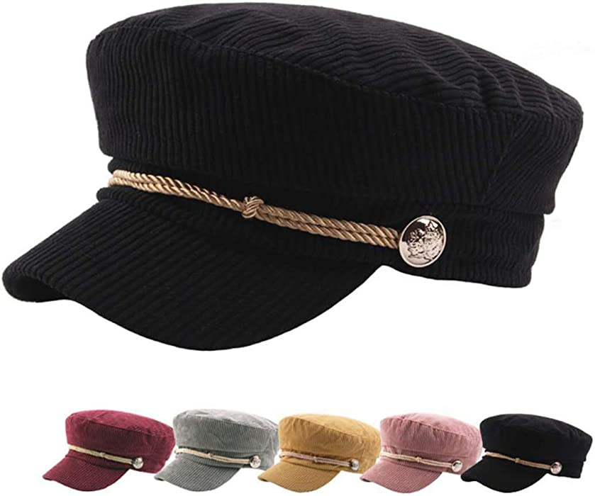 CHENNUO Women Military Hat Mariner Cap Barge Fiddler Cap Autumn Winter Corduroy Flat Cap