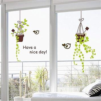 Flor de la planta ventana de vidrio puerta corredera pegatinas restaurante balcón ventana pegatinas tienda decoración de la pared pegatinas de pared: Amazon.es: Bricolaje y herramientas