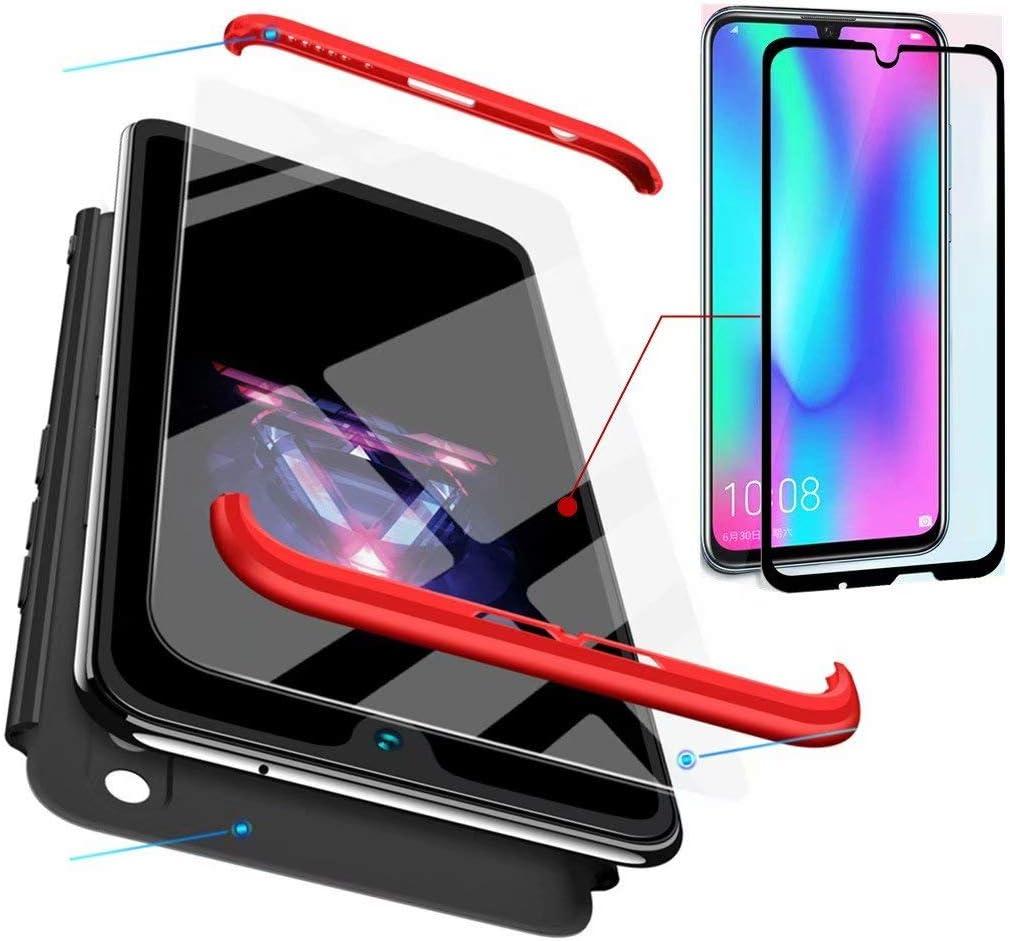 AILZH Funda Huawei Honor 10 Lite+Pantalla de Vidrio Templado Cubierta de 360 Grados Caja protección de cáscara Dura Anti-Shock Anti-rasguño del Protector Completo 360°Caso Mate(Rojo Negro): Amazon.es: Electrónica