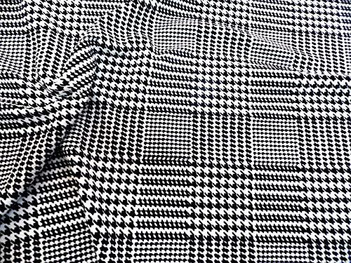 Fabric Plaid Glen (Fabric Printed Liverpool Textured 4 Way Stretch Glen Plaid Houndstooth Black J30)