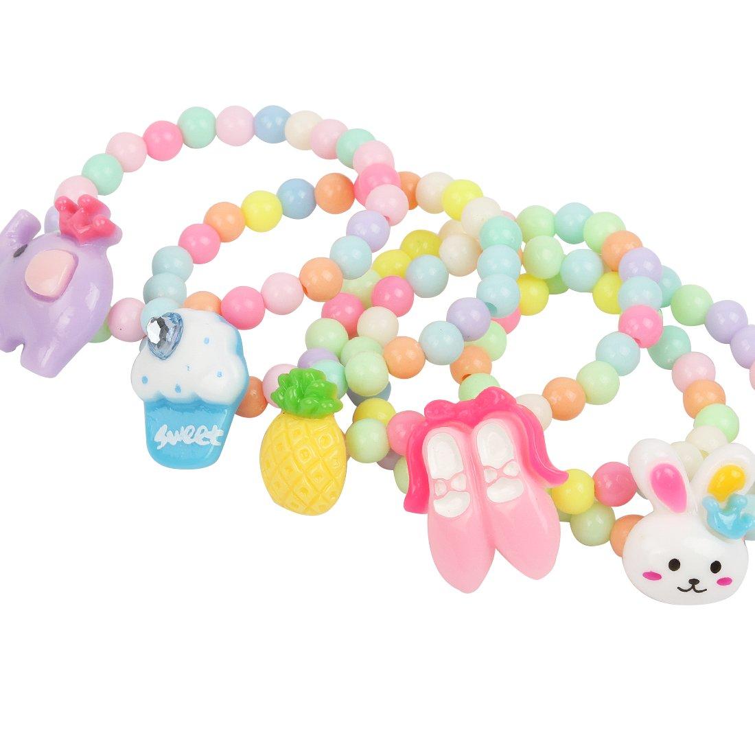kilofly 6 Sets Princess Party Favors Girls Jewelry Rings Elastic Bracelets Pack by kilofly (Image #4)