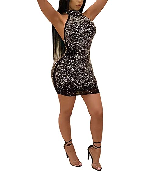 6473fe3c41e Women Long Sleeve Night Club Dress Lace Up Bodycon Sequined 2pcs Sexy Mini  Party Dress